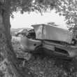 Road accident - Car against a Tree — Stock Photo