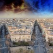 Sunset over Paris, view from Triumph Arc Terrace — Stock Photo