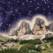 Stock Photo: Wonderful Mountain Peaks at night