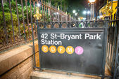 42st - Bryant Park Subway sign in the summer night — Stock Photo