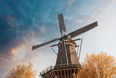Netherlands. Beautiful view of Windmill with colourful sky — Foto de Stock