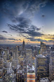 New York City - Manhattan skyline at winter sunset — Stock Photo