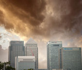 London financial district. Beautiful skyline at sunset — Stock Photo