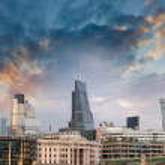 London, UK. Beautiful sunset view of city modern skyline — Stock Photo #32880247