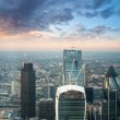 London. Stunning aerial view of modern financial district skyline — Stock Photo
