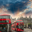 Stock Photo: Classic red double decker bus in city streets