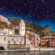 Night above Cinque Terre Quaint Village - Italy — Stock Photo