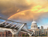 Rainbow over Millennium Bridge in London. St Paul Cathedral — Stock Photo