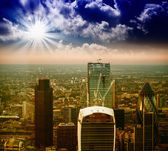 Sunset over modern London skyline. Aerial view — Stock Photo