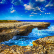 Gorgeous rocks on the coastline. Ocean view with colourful sky — Stock Photo #33687929