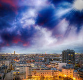 Paris, France. Wonderful city aerial view at winter sunset — Stock Photo