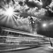 London. Red Bus light trails under famous Big Ben Tower at sunset — Stock Photo