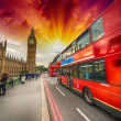 Modern red double decker bus, icon of London, UK — Stock Photo