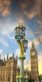 London. Classic street lamps against Palace Of Westminster and B — Stock Photo