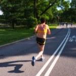 NEW YORK CITY - JUN 15: Jogger runs in Central Park on a sunny a — Stock Photo #34211273