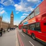 Double Decker Red Bus speeding up in Westminster Bridge - London — Stock Photo