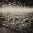 London, UK. Houses of Parliament and Big Ben, beautiful aerial v — Stock Photo #34219991