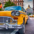 Vintage old Taxi in New York City. Classic Yellow Cab in Manhatt — Stock Photo