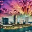 City of Miami Florida, colorful night panorama of downtown busin — Stock Photo