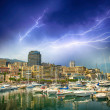 Stock Photo: Monaco Montecarlo cityscape, principality harbor view. Skyscrape