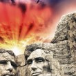Постер, плакат: Mount Rushmore Theodore Roosevelt and Abraham Lincoln sculptur