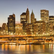 Wonderful sunset view of Manhattan skyline, New York City — Stock Photo