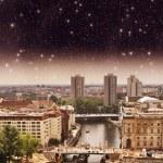 Постер, плакат: Aerial view of Berlin and Spree River in a beautiful summer nigh