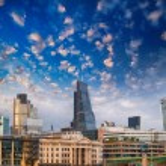 London, UK. Beautiful sunset view of city modern skyline — Stock Photo #34637795