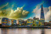London Cityscape, including City Hall, seen from Tower Bridge at — Stock Photo