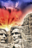 Mount Rushmore - Theodore Roosevelt and Abraham Lincoln sculptur — Stock Photo
