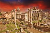 Sunset above Ancient Ruins of Rome - Imperial Forum — Stock Photo