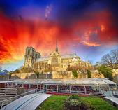 Vacker solnedgång över notre dame i paris. — Stockfoto
