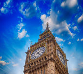 Beautiful upward view of Big Ben Tower at sunset, London - UK — Stock Photo