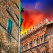 Ancient medieval homes of Tuscany small town — Stock Photo