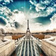 Paris. Beautiful Eiffel Tower landmark, view at sunset from Troc — Foto Stock