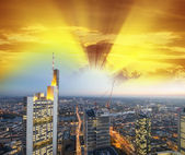 Frankfurt skyline at sunset, Germany — Stock Photo