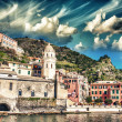 Stock Photo: Quaint Village of Riomaggiore, on Cinque Terre coast - Beaut