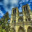 Notre Dame de Paris Cathedral facade, France — Stock Photo