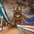Tower Bridge at Night with car light trails - London — Stock Photo