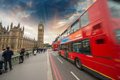 Double Decker Red Bus speeding up in Westminster Bridge - London — Stock Photo
