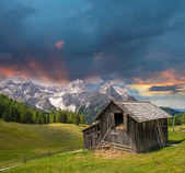 Mountain Hut in summer season. Refuge - Shelter — Stock Photo