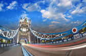 Beautiful blue shades of Tower Bridge at sunset in London, wide — Stock Photo