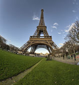 Eiffel Tower and Champ de Mars in Paris, France. Famous landmark — Stock Photo