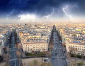 Storm above Paris, Panoramic view from Triumph Arc — Stock Photo