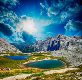 Beautiful sunset over Alpin Lakes, Italian Dolomites — Stock Photo