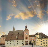 Medieval town. Ancient buildings on a classic middle-age city — Stock Photo