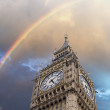 Rainbow over the Big Ben Tower in London, UK — Stock Photo