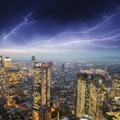 Storm over city buildings — Stock Photo