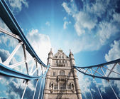 Tower Bridge in London, upward view — Stock Photo