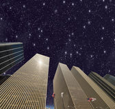 Stars and night colors in New York. Beautiful modern buildings, — Stock Photo